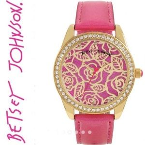NIB BETSEY JOHNSON Pink Glitter & Gold Roses Watch